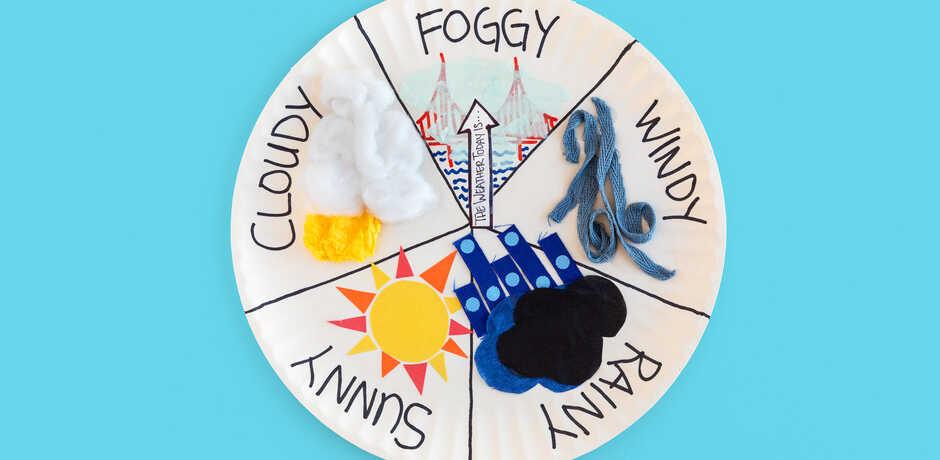 Backyard weather wheel against blue background