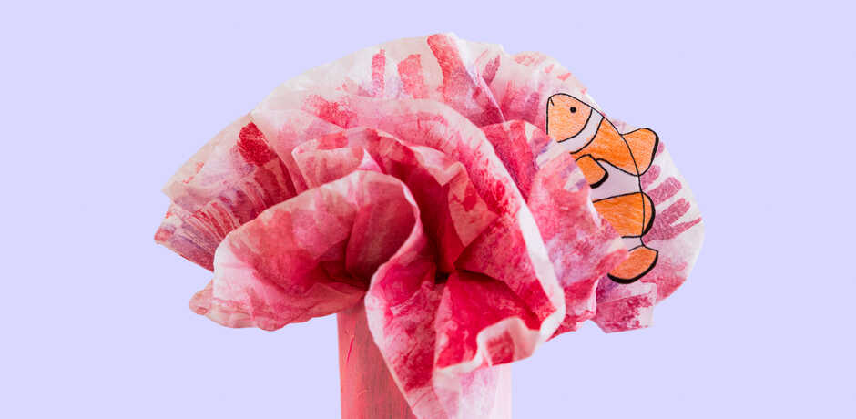Tissue paper sea anemone with construction paper clownfish craft