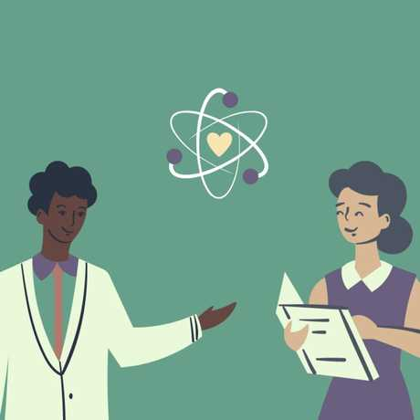 A cartoon image showing a man in a lab coat, a women reading a book, and a figurative atom icon with a heart inside.