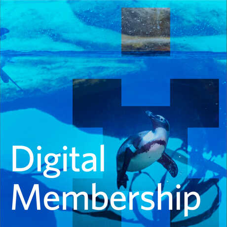 Digital Membership wordmark with penguin and pixelated graphic of human