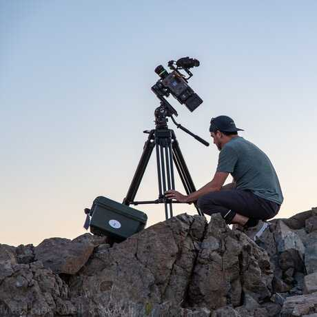 Academy VizStudio staff sets up a camera shot in Chile