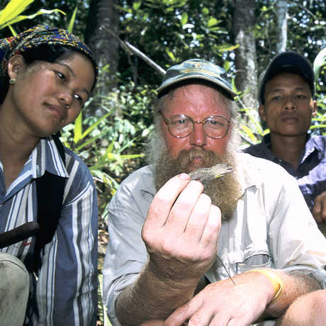 Herpetology collections manager Jens V. Vindum holds a small lizard in Myanmar