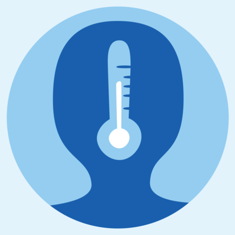 Illustration of person with thermometer