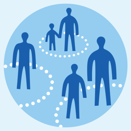 Illustration of people practicing physical distancing