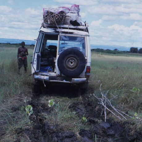 A loaded up field Jeep