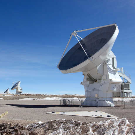 Radio telescope array at ALMA observatory in Chile