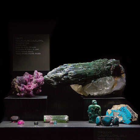 Sparkling gems on display in our gems and minerals vault.