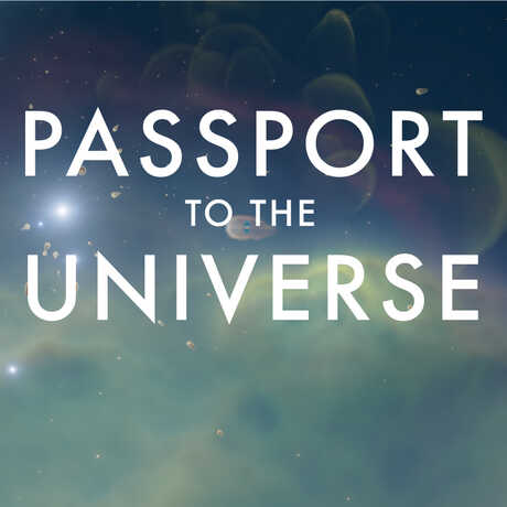 Passport to the Universe wordmark against Orion Nebula