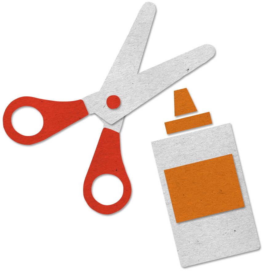 Felt scissors and glue icon