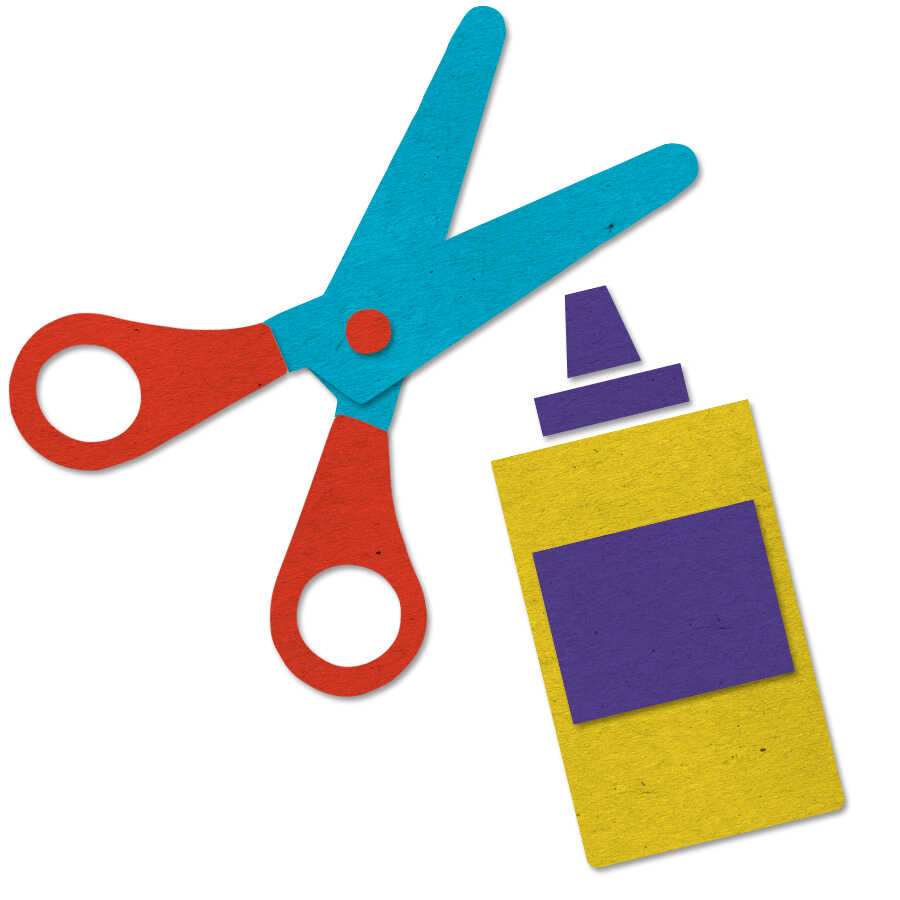 Felt icon of scissors and glue