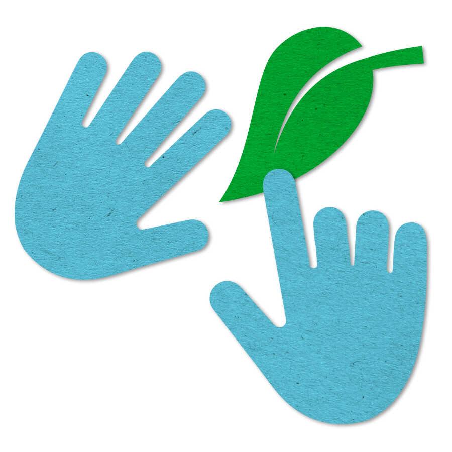 Blue felt hands icon