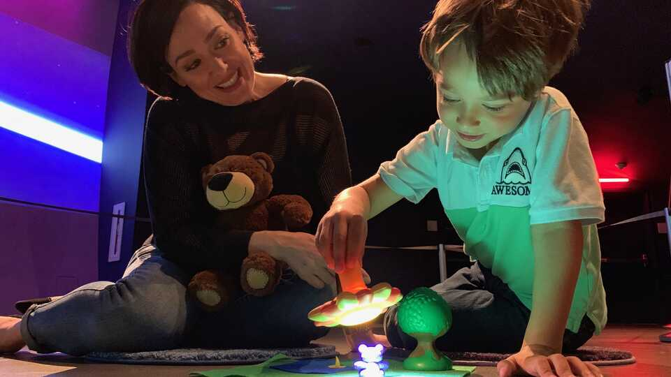 Woman and toddler do an activity